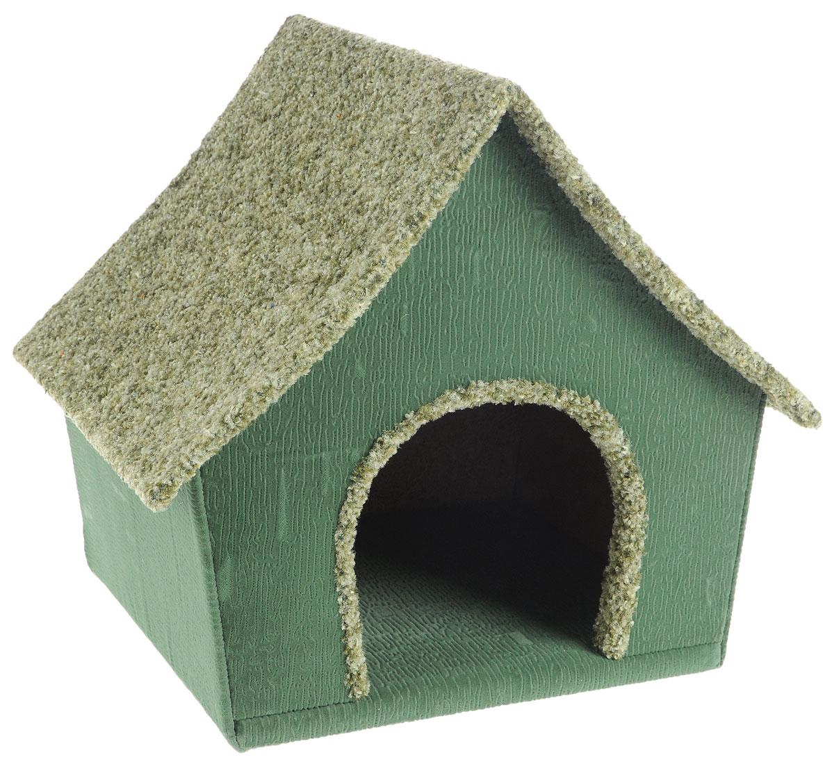 Домик для животных Неженка Китайский, цвет: зеленый, 42 х 36 х 38 см7317_зеленыйБольшой, уютный домик Китайский, выполненный из ДСП, обитый тканью, отлично подойдет для вашего любимца. Такой домик станет не только идеальным местом для сна вашего питомца, но и местом для отдыха. Для максимального комфорта наружные части обтянуты мягкой тканью. Изделие имеет большой вход.Удобный и мягкий, он станет не только отличным домиком для вашего любимца, но еще и оригинальным украшением интерьера.