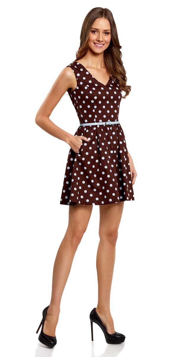 Платье oodji Ultra, цвет: темно-коричневый, голубой. 11913021/19766/3970D. Размер 38-170 (44-170)