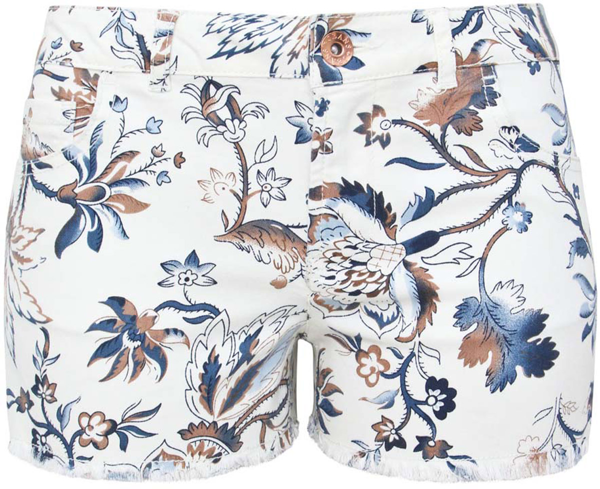 Шорты женские oodji Denim, цвет: белый, бежевый, синий. 12807063/42858/3079E. Размер 27 (44)