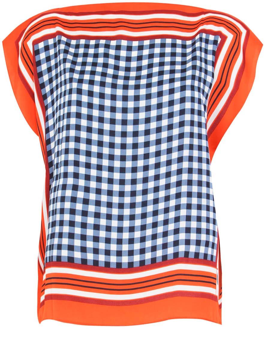 Блузка женская oodji Collection, цвет: оранжевый, синий. 21400373/24446/5575C. Размер 38-170 (44-170)21400373/24446/5575CЖенская блузка oodji Collection выполнена из 100% полиэстера. Оригинальная модель с цельнокроеным рукавом оформлена интересным принтом.