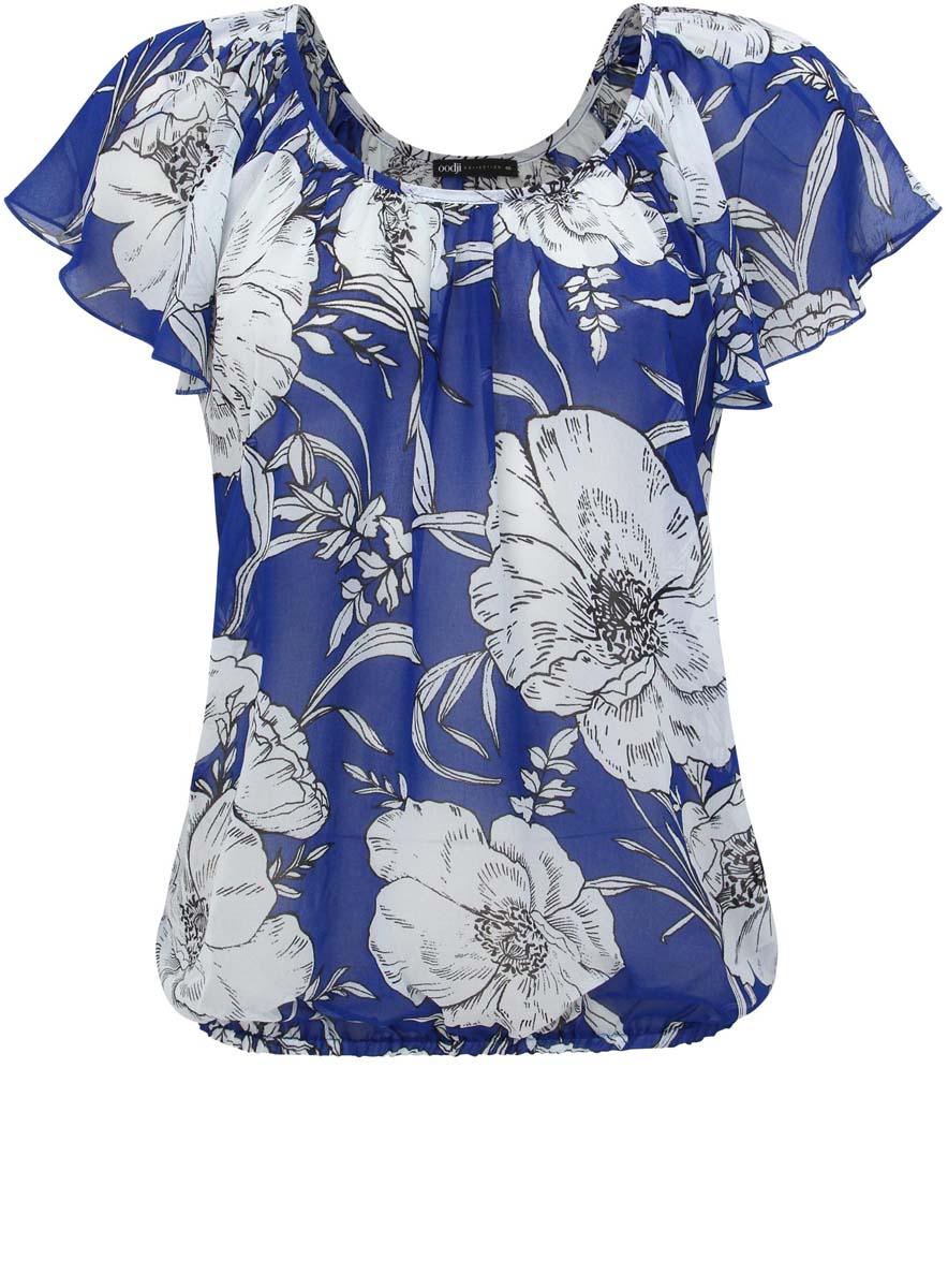 Блузка женская oodji Collection, цвет: синий, белый. 21400338-1/35202/7510F. Размер 36-170 (42-170)