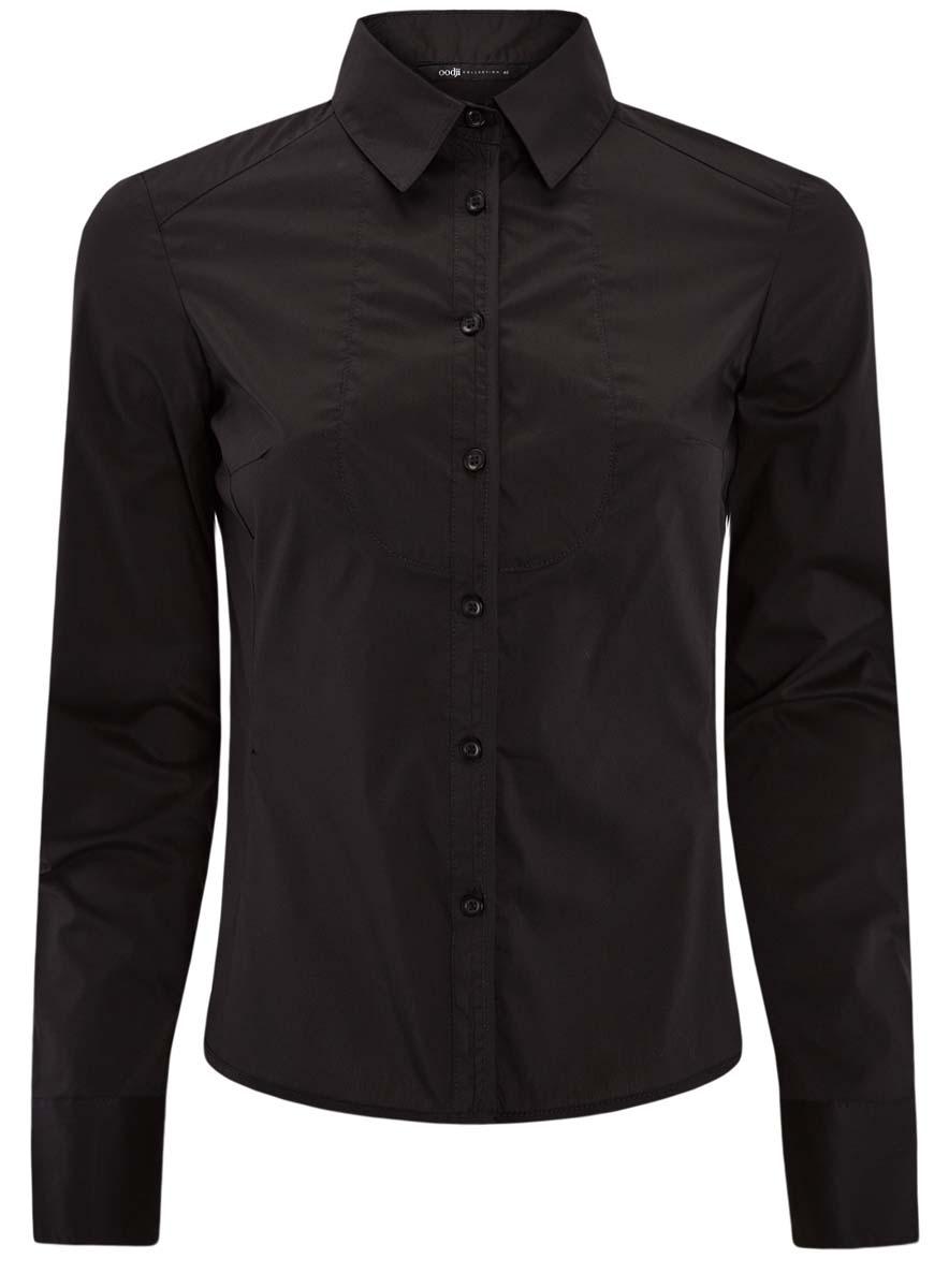 Рубашка женская oodji Collection, цвет: черный. 21405133/42083/2900N. Размер 42-170 (48-170) блузка женская oodji collection цвет бледно розовый 21406034 1 42083 4000n размер 42 48 170