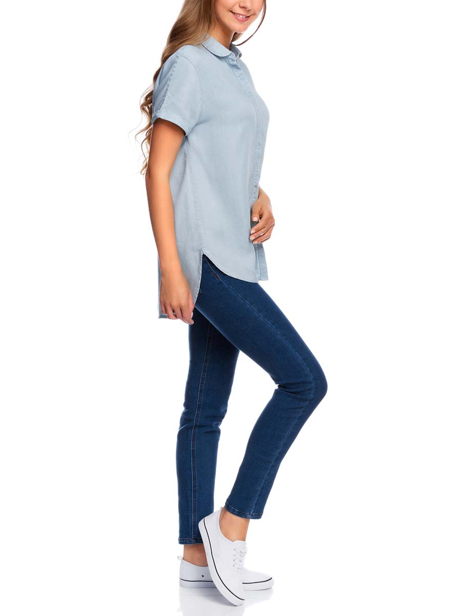 Блузка женская oodji Ultra, цвет: голубой джинс. 16A09002/45490/7000W. Размер 36-170 (42-170)