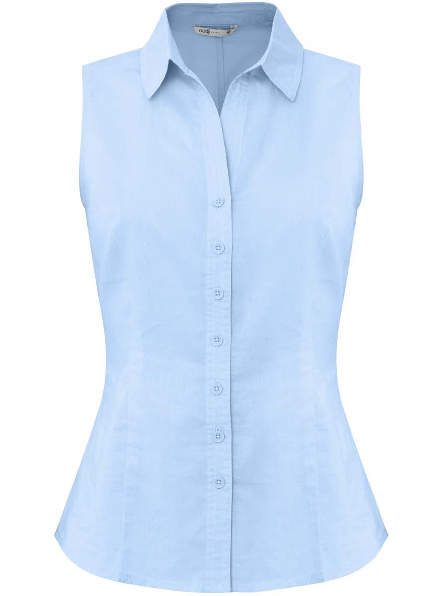 Блузка женская oodji Ultra, цвет: голубой. 11405063-6/26491/7000N. Размер 36-170 (42-170)