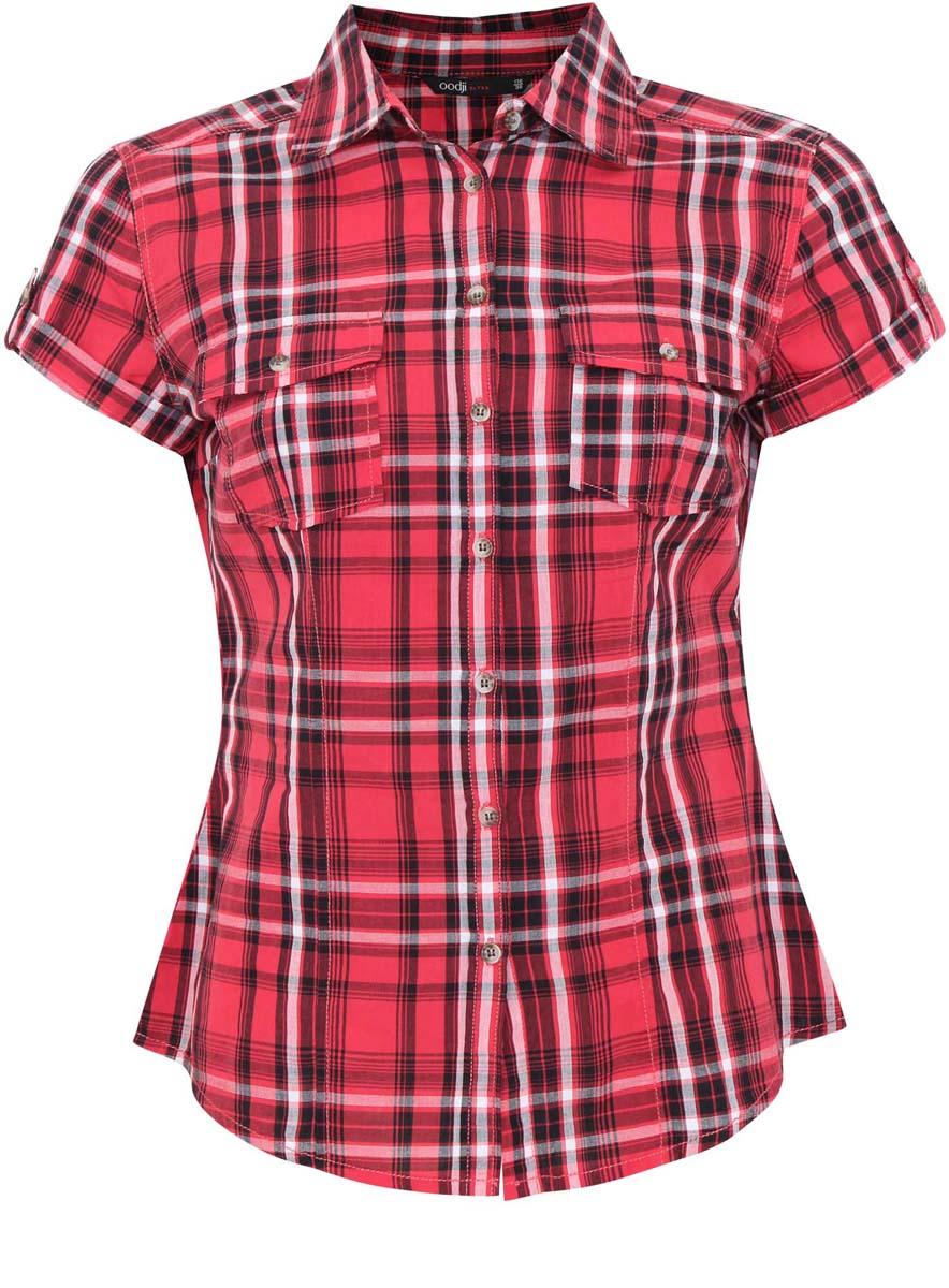 Блузка женская oodji Ultra, цвет: красный, черный, белый. 11402084-4/35293/4529C. Размер 38-170 (44-170)11402084-4/35293/4529CЖенская блузка oodji Ultra выполнена из натурального хлопка. Модель с короткими рукавами и отложным воротничком полностью застегивается на пуговицы. Лицевая сторона оформлена двумя накладными карманами под клапанами на пуговицах. Низ изделия слегка закруглен.