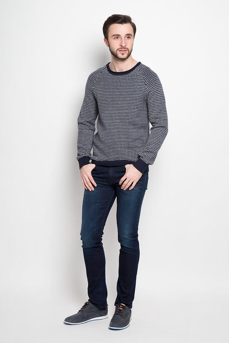 Пуловер мужской Broadway Rowland, цвет: темно-синий, серый. 20100412_563. Размер L (50) пуловеры broadway пуловер