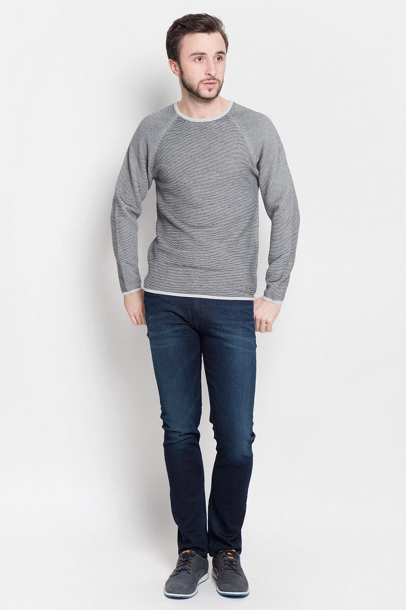 Джемпер мужской Broadway Piper, цвет: светло-серый, черный. 20100404_886. Размер L (50) пуловеры broadway пуловер