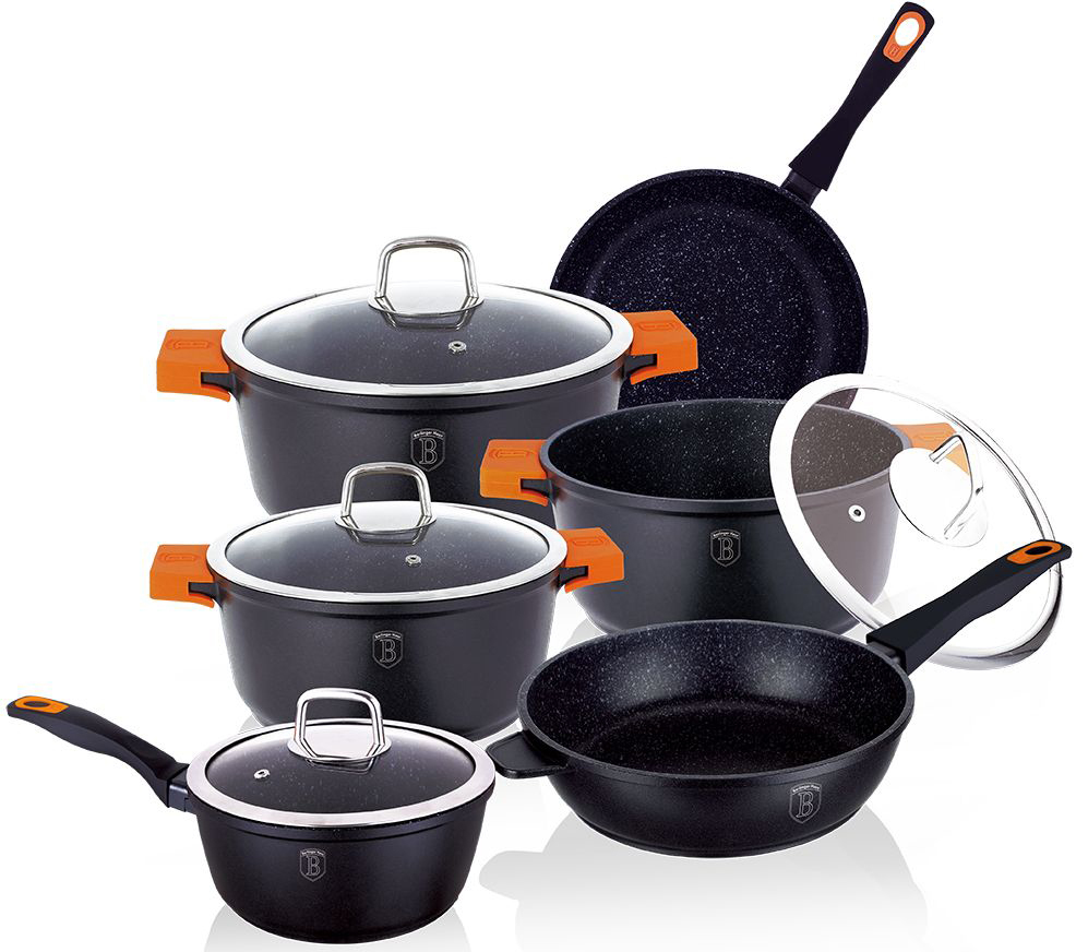 Набор посуды Berlinger Haus Granit Diamond Line, цвет: черный, оранжевый, 10 предметов1111-ВННабор посуды Berlinger Haus Granit Diamond Line состоит из 3 кастрюль с крышками, 2 сковород, ковша с крышкой. Посуда изготовлена из литого алюминия с высококачественным мраморным антипригарным покрытием в 3 слоя. Такое покрытие предотвращает пригорание пищи и ее прилипание к стенкам. Оно абсолютно безопасно для здоровья и не выделяет вредных веществ во время готовки. Специальное индукционное дно TURBO INDUCTION экономит 35% энергии. Тепло распределяется равномерно по всей поверхности посуды, что позволяет пище готовиться быстрее. Сковороды оснащены ручками с покрытием soft-touch, а кастрюли - удобными ручками со съемными силиконовыми накладками. Такие ручки не нагреваются в процессе приготовления пищи и не дают вашим рукам обжечься. Крышки выполнены из жаростойкого стекла и снабжены ручкой из нержавеющей стали (безопасны для использования в духовке). Посуда подходит для газовых, электрических, стеклокерамических, галогенных, индукционных плит. Можно мыть в посудомоечной машине. Можно ставить в духовку вместе с крышкой, выдерживает температуру до +220°С. Объем кастрюль: 2,2 л, 4,2 л, 5,8 л. Диаметр кастрюль: 20 см, 24 см, 28 см. Высота стенки кастрюль: 8,9 см, 11,2 см, 12,1 см. Диаметр сковороды: 20 см. Высота стенки сковороды: 3,9 см. Диаметр глубокой сковороды: 24 см. Высота стенки глубокой сковороды: 6,5 см. Объем ковша: 1,2 л. Диаметр ковша: 16 см. Высота стенки ковша: 7,8 см.