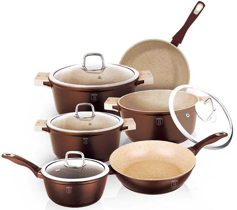 Набор посуды Berlinger Haus  Granit Diamond Line , цвет: коричневый, кремовый, 10 предметов - Посуда для приготовления