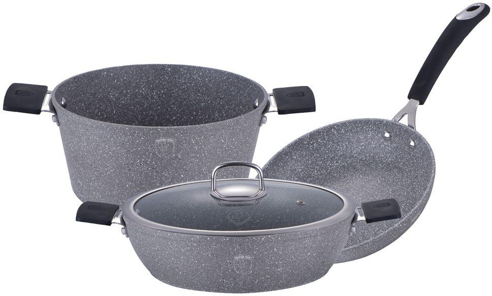 "Набор посуды Berlinger Haus ""Stone Touch Line"", с мраморным покрытием, цвет: черный, серый, 4 предмета"