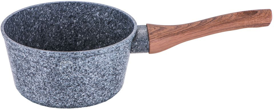 """Ковш Berlinger Haus """"Forest Line"""" изготовлен из кованого алюминия с высококачественным мраморно-гранитным антипригарным покрытием в 3 слоя. Такое покрытие предотвращает пригорание пищи и ее прилипание к стенкам. Оно абсолютно безопасно для здоровья и не выделяет вредных веществ во время готовки. Специальное индукционное дно """"TURBO INDUCTION"""" экономит 35% энергии. Тепло распределяется равномерно по всей поверхности посуды, что позволяет пище готовиться быстрее. Ковш оснащен эргономичной ручкой с покрытием """"soft-touch"""", декорированной """"под дерево"""". Такая ручка не нагревается в процессе приготовления пищи и не дает вашим рукам обжечься. В комплекте поставляется подставка под горячее, которая сбережет ваш стол от воздействия высоких температур. Посуда подходит для газовых, электрических, стеклокерамических, галогенных, индукционных плит. Можно мыть в посудомоечной машине. Высота стенки: 7,5 см."""