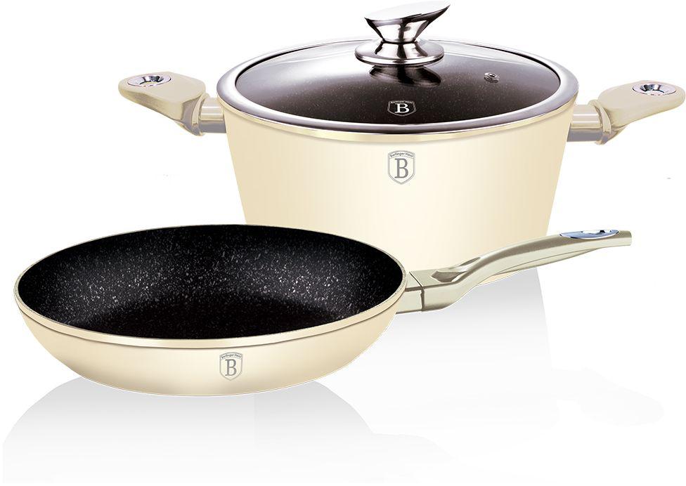 Набор посуды Berlinger Haus Metallic Line, с мраморным покрытием, цвет: кремовый, 3 предмета. 1286-ВН1286-ВННабор Berlinger Haus Metallic Line включает сковороду, кастрюлю и крышку. Посуда изготовлена из кованого алюминия с высококачественным внутренним мраморным покрытием в 3 слоя. Такое покрытие предотвращает пригорание пищи и ее прилипание к стенкам. Оно абсолютно безопасно для здоровья и не выделяет вредных веществ во время готовки. Внешнее покрытие имеет цвет металла. Специальное индукционное дно TURBO INDUCTION экономит 35% энергии. Тепло распределяется равномерно по всей поверхности посуды, что позволяет пище готовиться быстрее. Посуда оснащена эргономичными ручками с покрытием soft-touch, которые не нагреваются в процессе приготовления пищи и не дают вашим рукам обжечься. Крышка изготовлена из жаростойкого стекла, снабжена ручкой и ободом из нержавеющей стали. Посуда подходит для газовых, электрических, стеклокерамических, галогенных, индукционных плит. Можно мыть в посудомоечной машине. Диаметр сковороды: 24 см. Высота стенки сковороды: 5 см. Объем кастрюли: 4 л. Диаметр кастрюли: 24 см.