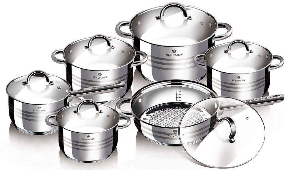 Набор посуды Blaumann Gourmet Line, 12 предметов. 1410-ВL1410-ВLНабор посуды с крышками 12пр., материал: нержавеющая стальВключают в себя: 1 шт кастрюля 16?10,5 см, 2,1 л1 шт кастрюля 16?10,5 см, 2,1 л1 шт кастрюля 18?11,5 см, 2,9 л1 шт кастрюля 20?12,5 см, 3,9 л1 шт сотейник 24?14,5 см, 6,5 л1 шт сковорода 24?7,5 смУпаковка: коробка