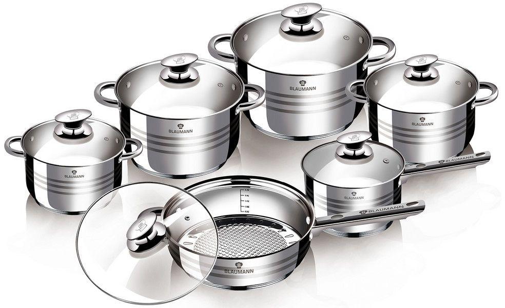 Набор посуды Blaumann Gourmet Line, 12 предметов. 3135-ВL3135-ВLНабор посуды 12 пр, материал: нержавеющая стальВключают в себя: Кастрюля с крышкой 24x14,5 см, 6,5лКастрюля с крышкой 20х12,5 см, 3,9лКастрюля с крышкой 18x11,5 см, 2,9лКастрюля с крышкой 16x10,5 см ,2,1лКовш с крышкой 16x10,5 см, 2,1лСковорода с крышкой 24х7,5 см Упаковка: коробка