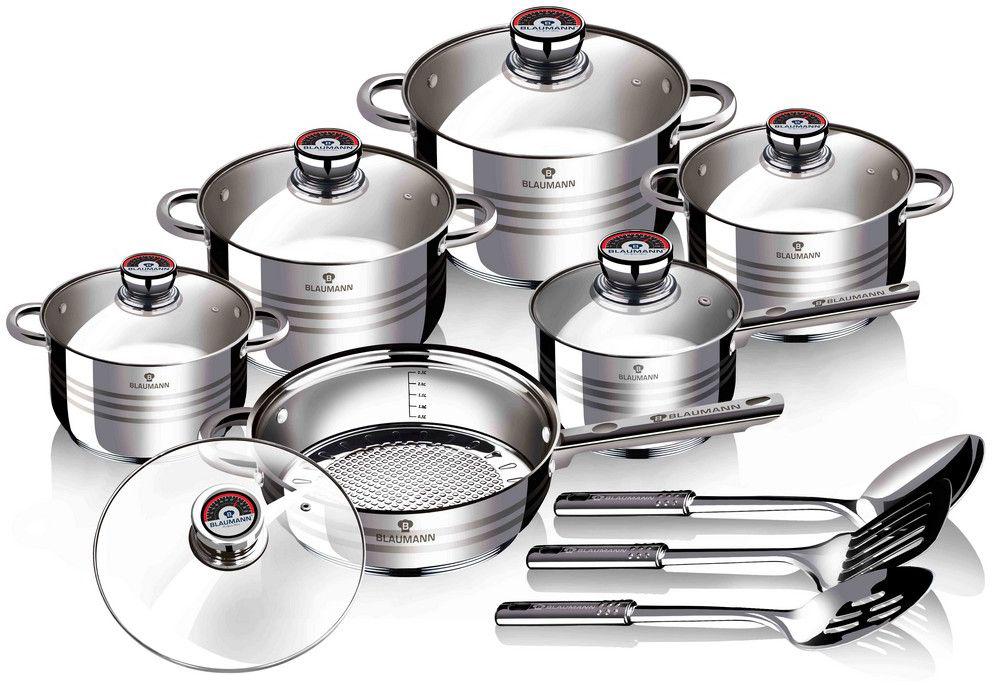 Набор посуды Blaumann Gourmet Line, 13 предметов. 3136-ВL3136-ВLНабор кухонной посуды, 15пр., сковорода с крышкой 24х7,5см, 2 шт. кастрюли с крышкой 16х10,5см 2,1л, кастрюля с крышкой 18х11,5см, 2,5л, кастрюля с крышкой 20х12,5см, 3,9л, кастрюля с крышкой 24х14,5см, 6,5л, материал: нержавеющая сталь, индукционное дно, мерная шкала, 3пр. кух.приналежностей, можно мыть в посудомоечной машине, упаковка: коробка