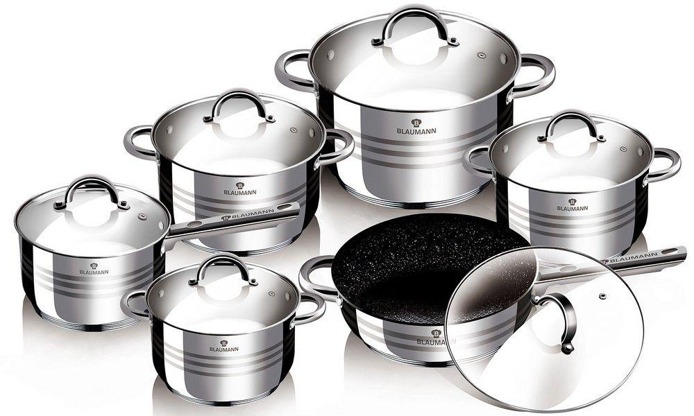 Набор посуды Blaumann Gourmet Line, 12 предметов. 3151-BL3151-BLНабор посуды Blaumann Gourmet Line состоит из четырех кастрюль, сотейника и ковша. Изделия выполнены из нержавеющей хромоникелевой стали. Этот материал обладает высокой стойкостью к коррозии и кислотам. Прочность,долговечность и надежность этого материала, а также первоклассная обработка обеспечивают практически неограниченный запас прочности. Зеркальная полировка придает посуде привлекательный внешний вид. Сотейник имеет крышку и длинную ручку, а также изготовлен с мраморным покрытием.Посуда оснащена удобными ручками, которые не нагреваются в процессе приготовления пищи. Крышки изготовлены из жаростойкого стекла. Можно использовать на газовых, электрических, галогенных, стеклокерамических, индукционных плитах. Можно мыть в посудомоечной машине. Диаметр кастрюль (по верхнему краю): 24 см, 20 см, 18 см, 16 см. Объем кастрюль: 2,1 л, 2,5 л, 3,9 л, 6,5 л. Высота стенок кастрюль: 14,5 см, 12,5 см, 11,5 см, 10,5 см. Объем ковша: 2,1 л. Диаметр ковша (по верхнему краю): 17 см. Высота стенки ковша: 10,5 см. Длина ручки ковша: 16 см. Диаметр сотейника (по верхнему краю): 25,5 см. Высота стенок сотейника: 7,5 см. Длина ручки сотейника: 18,5 см.