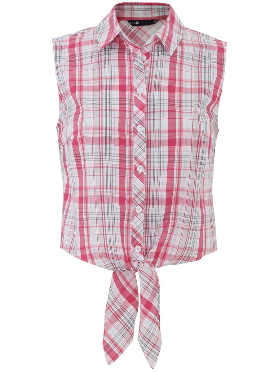 Блузка женская oodji Ultra, цвет: розовый, белый, серый. 11400419-1/42753/4D10C. Размер 38-170 (44-170)11400419-1/42753/4D10CОригинальная женская блузка oodji Ultra выполнена из натурального хлопка. Модель с отложным воротничком полностью застегивается на пуговицы. Передняя часть блузки длиннее спинки и внизу дополнена длинными тканевыми завязками.