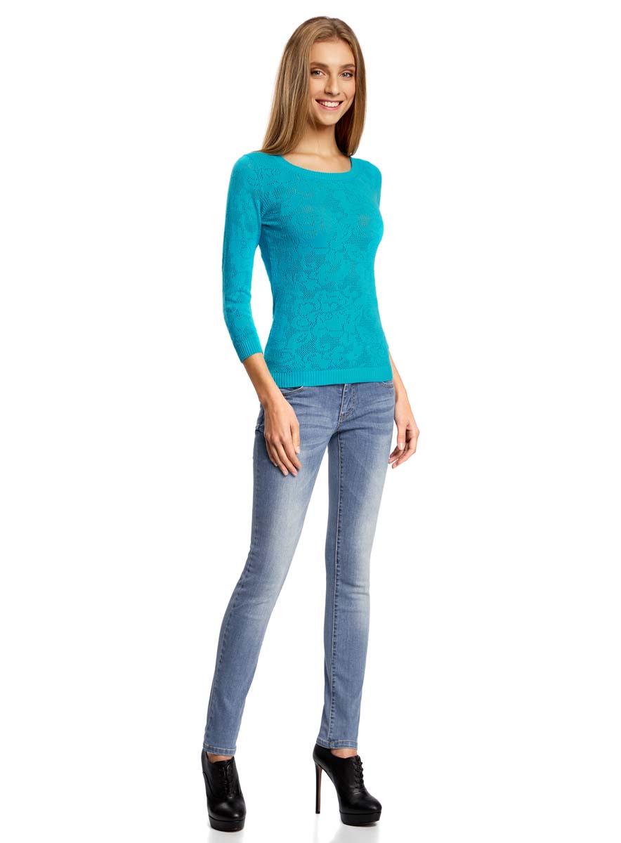 Джинсы женские oodji Ultra, цвет: голубой. 12103121-1/43322/7500W. Размер 26-32 (42-32) джинсы мужские oodji basic цвет синий джинс 6b120016m 34842n 7500w размер 32 32 50 32