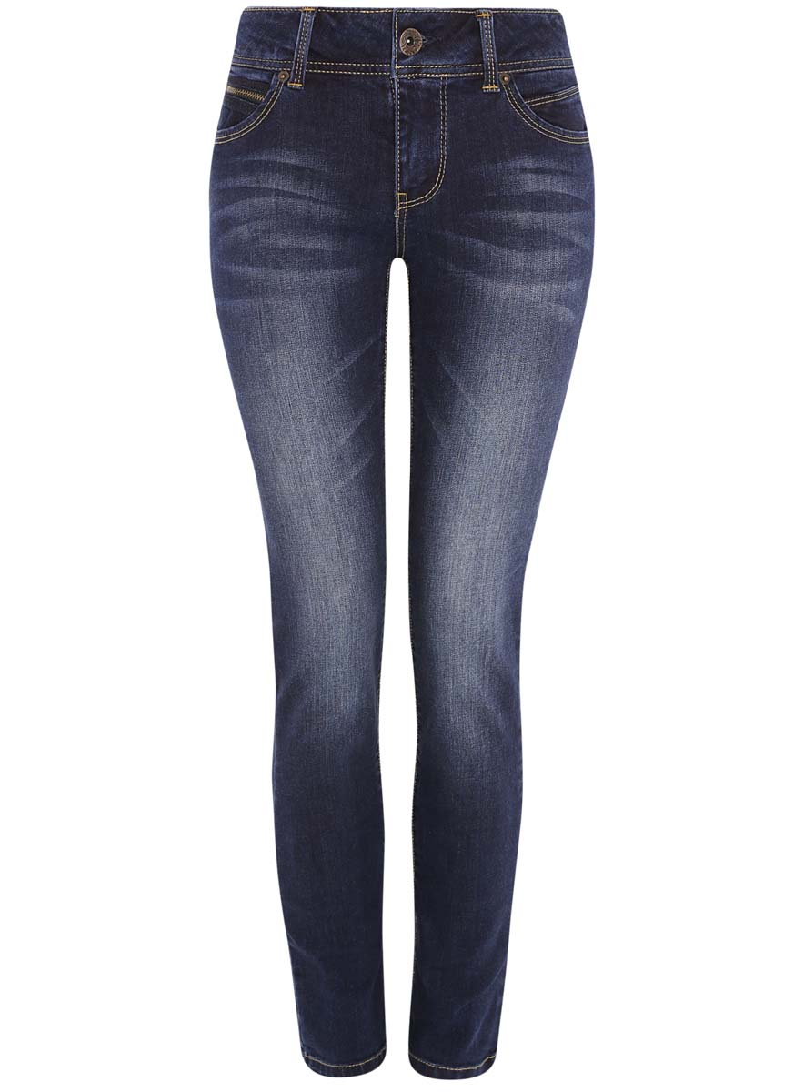 Джинсы женские oodji Ultra, цвет: темно-синий. 12103121-1/43322/7900W. Размер 29-32 (48-32) джинсы женские oodji ultra цвет темно синий джинс 12103145b 46341 7900w размер 26 32 42 32