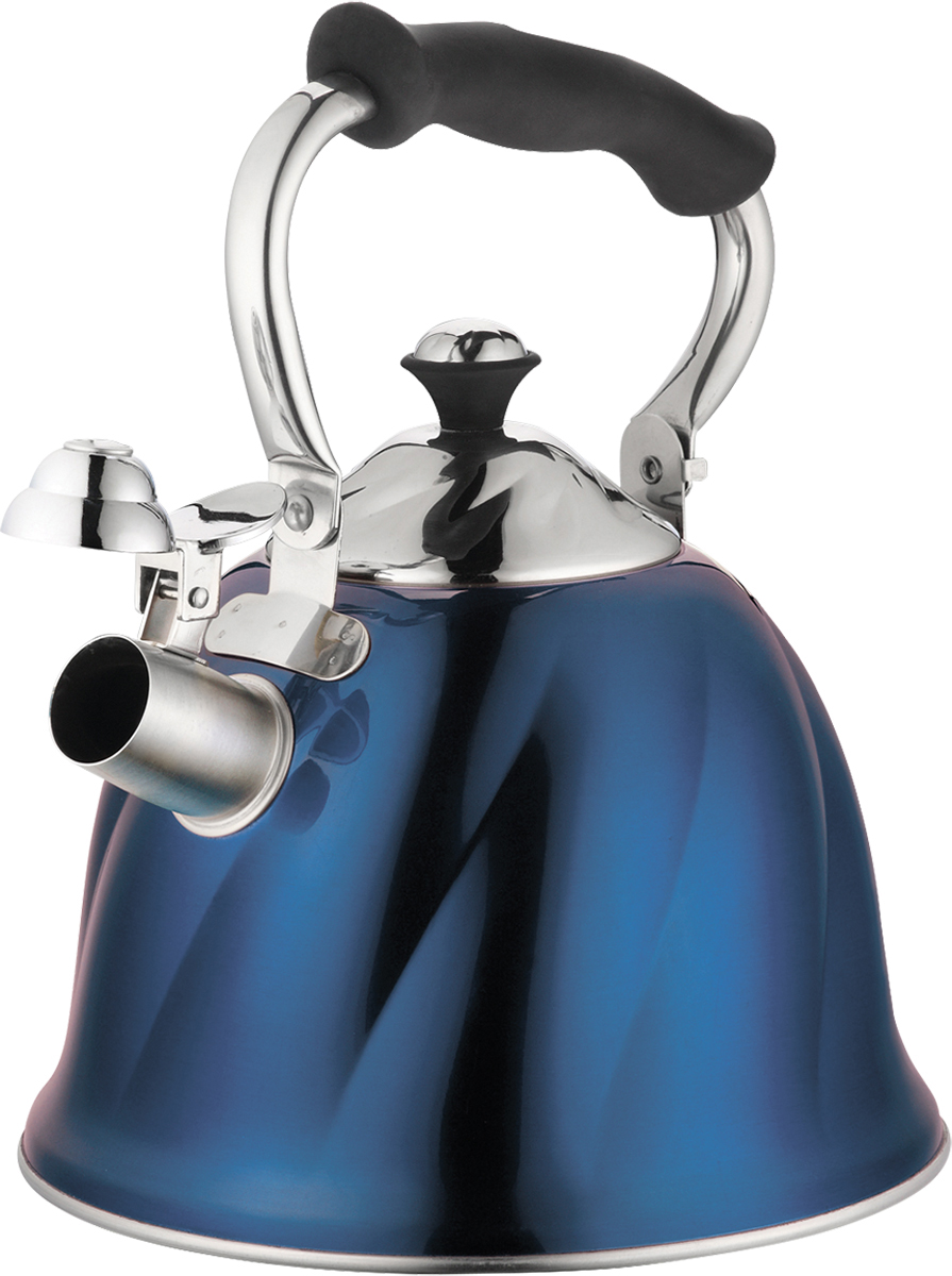 Чайник Marta, со свистком, цвет: синий, 3 л. MT-3045MT-3045 синийЧайник Marta выполнен из высококачественной нержавеющей стали и оснащен ненагревающейся складной ручкой с силиконовым покрытием. Теплоемкое трехслойное капсульное дно обеспечивает быстрый нагрев чайника и равномерно распределяет тепло по его корпусу. Кипячение воды занимает меньше времени, а вода дольше остается горячей. Свисток на носике чайника - привычный элемент комфорта и безопасности. Своевременный сигнал о готовности кипятка сэкономит время и электроэнергию, вода никогда не выкипит полностью, а чайник прослужит очень долго. Оригинальный механизм поднятия свистка добавляет чайнику индивидуальности - при поднятии чайника за ручку свисток автоматически открывает носик для удобства наливания кипятка в чашку. Чайник подходит для всех видов плит, кроме индукционных.