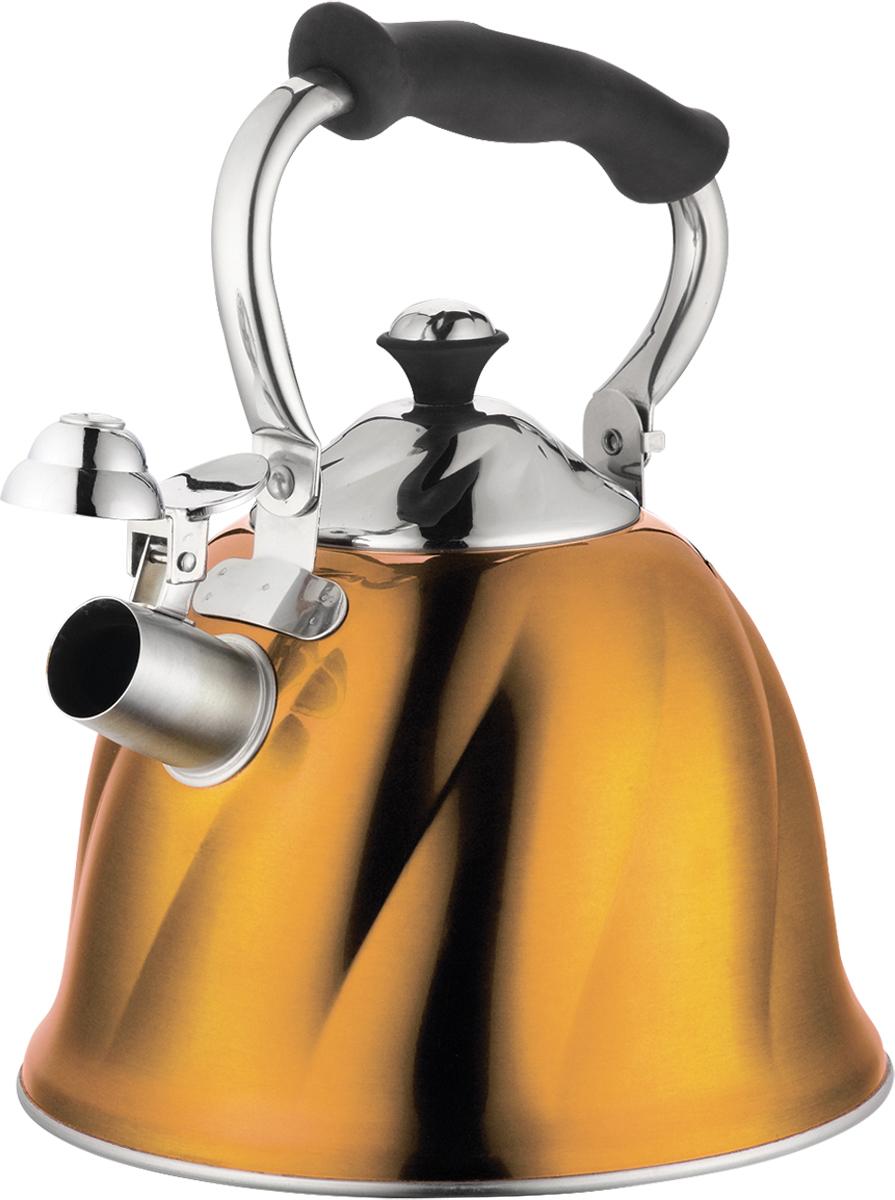 Чайник Marta, со свистком, цвет: золотистый, 3 л. MT-3045MT-3045 золотоЧайник Marta выполнен из высококачественной нержавеющей стали и оснащен ненагревающейся складной ручкой с силиконовым покрытием. Теплоемкое трехслойное капсульное дно обеспечивает быстрый нагрев чайника и равномерно распределяет тепло по его корпусу. Кипячение воды занимает меньше времени, а вода дольше остается горячей. Свисток на носике чайника - привычный элемент комфорта и безопасности. Своевременный сигнал о готовности кипятка сэкономит время и электроэнергию, вода никогда не выкипит полностью, а чайник прослужит очень долго. Оригинальный механизм поднятия свистка добавляет чайнику индивидуальности - при поднятии чайника за ручку свисток автоматически открывает носик для удобства наливания кипятка в чашку. Чайник подходит для всех видов плит, кроме индукционных.
