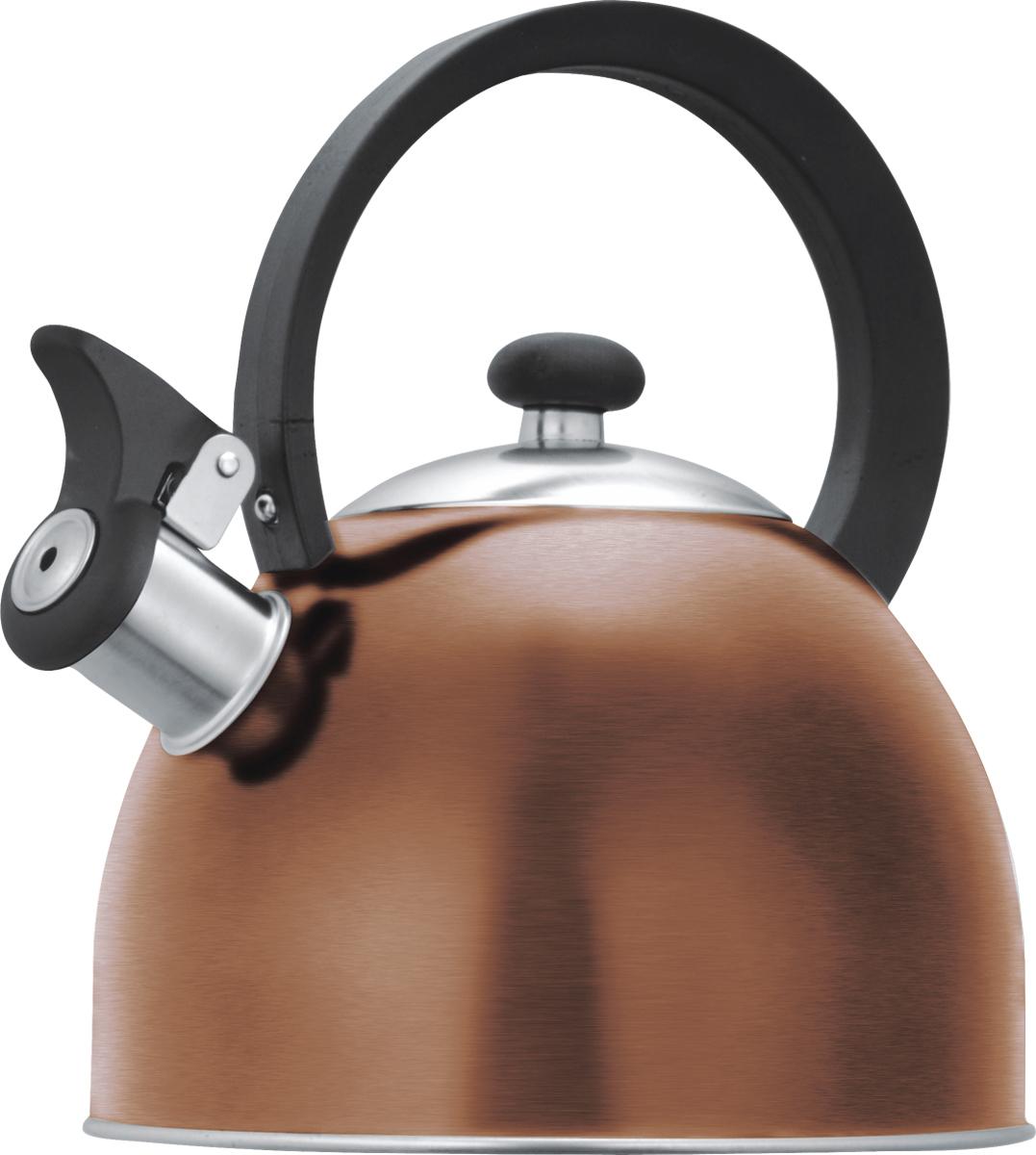 Чайник со свистком Lumme, цвет: медь, 1,8 л. LU-256LU-256 медьЧайник со свистком Lumme в корпусе из высококачественной пищевой нержавеющей стали с термостойкой ненагревающейся ручкой и свистком, поднимающимся с помощью рычажка.Высококачественная нержавеющая сталь не имеет запаха, не выделяет примесей и сохраняет все природные натуральные свойства воды.Свисток на носике чайника – привычный элемент комфорта и безопасности, потому что своевременный сигнал о готовности кипятка сэкономит время и электроэнергию, вода никогда не выкипит полностью, и чайник прослужит очень долго.Подходит для всех типов плит, кроме индукционных.