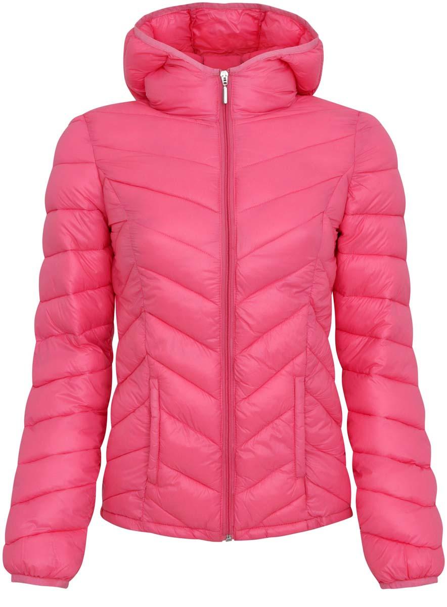 Куртка женская oodji Ultra, цвет: ярко-розовый. 10203028-1/33445/4D00N. Размер 34-170 (40-170) куртка женская oodji ultra цвет темно изумрудный 10203056 33445 6e00n размер 38 44 170