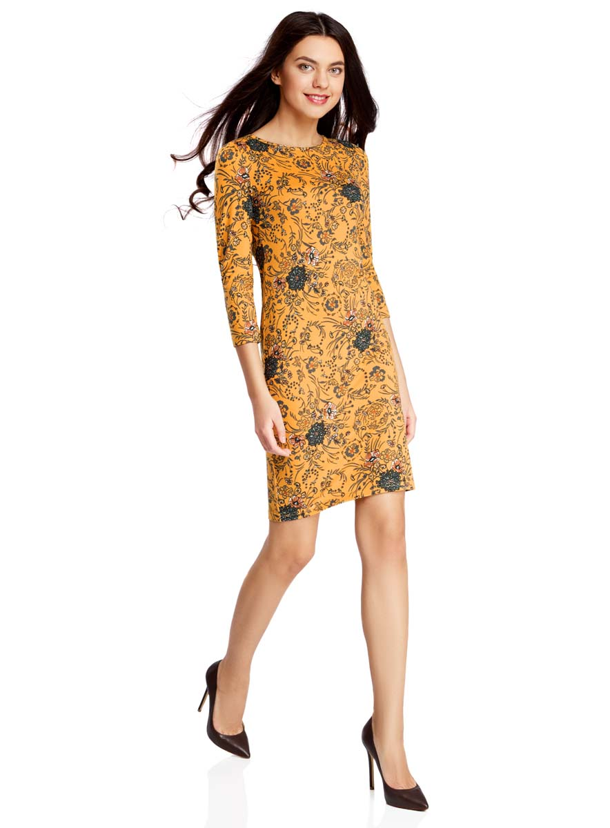 Платье oodji Collection, цвет: горчичный, темно-серый. 24001070-5/15640/5725F. Размер M (46) юбка oodji collection цвет темно синий 24100022 1b 35477 7900n размер m 46
