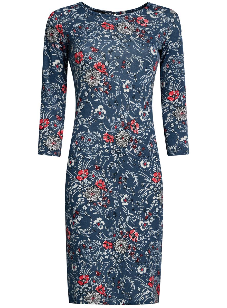 Платье oodji Collection, цвет: синий меланж, кремовый, коралловый. 24001070-5/15640/7630F. Размер XS (42) платье oodji collection цвет черный белый 24001104 1 35477 1079s размер l 48