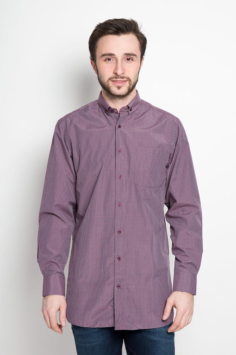 Рубашка мужская Imperator, цвет: сливовый, серо-голубой. Cortes 6A. Размер 44-170/178 (56-170/178) мужская одежда aston случайные случайные сшитые мужские рубашки с длинными рукавами синяя сетка 170 m a14116303