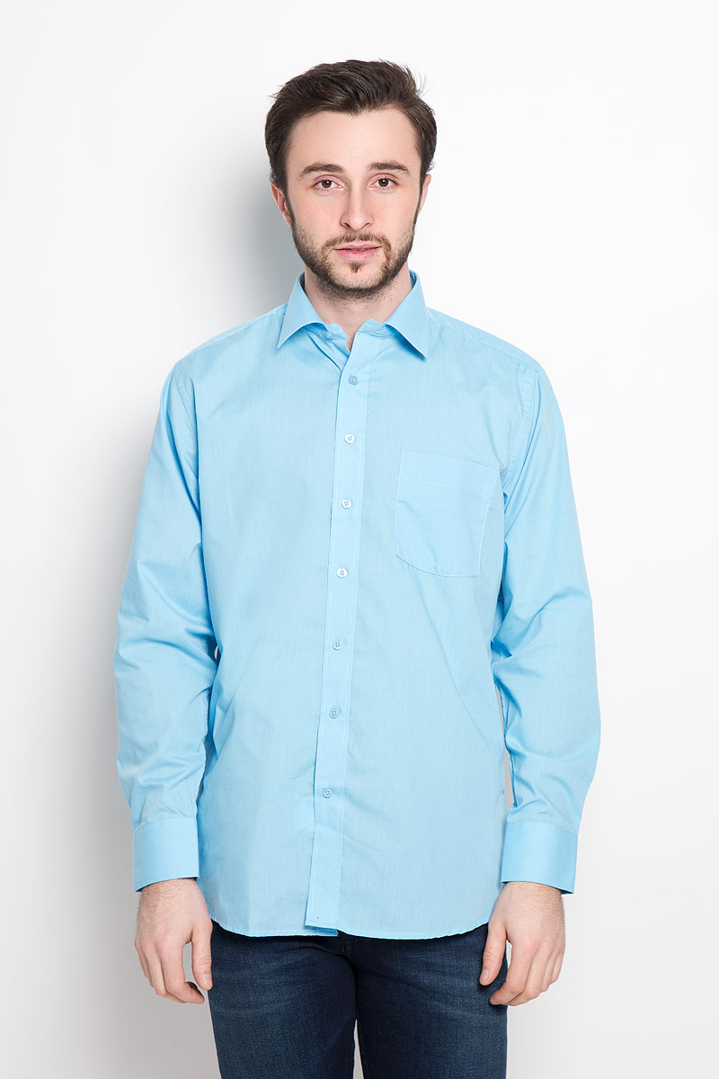 Рубашка мужская Imperator, цвет: голубой. Aqua. Размер 46-170/178 (60-170/178) мужская одежда aston случайные случайные сшитые мужские рубашки с длинными рукавами синяя сетка 170 m a14116303