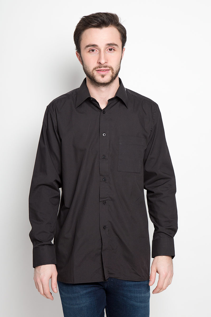 Рубашка мужская Maestro di Castello, цвет: черный. DF 420. Размер 42-178/186 (52-178/186)