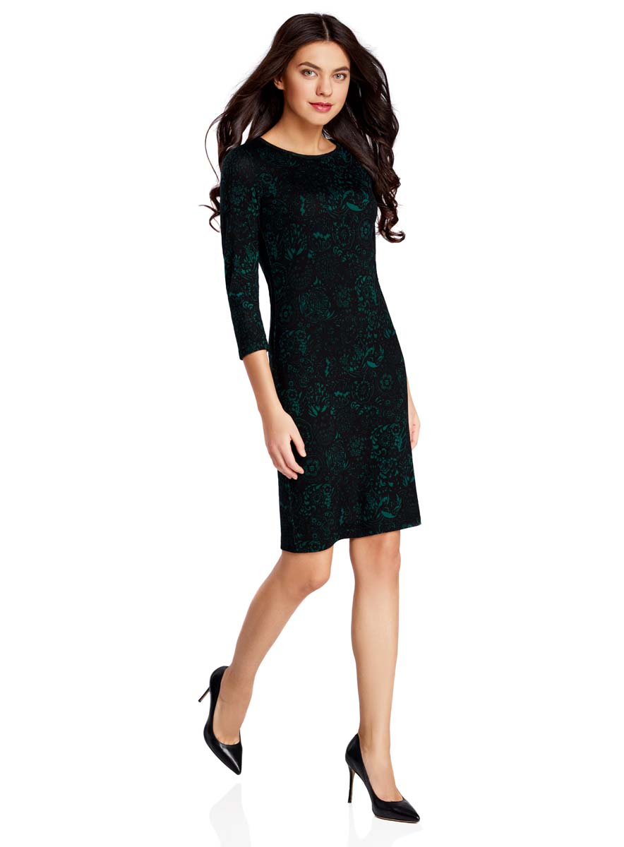 Платье oodji Collection, цвет: черный, зеленый. 24001070-5/15640/2962F. Размер L (48) платье oodji collection цвет синий 24007026 37809 7500n размер l 48