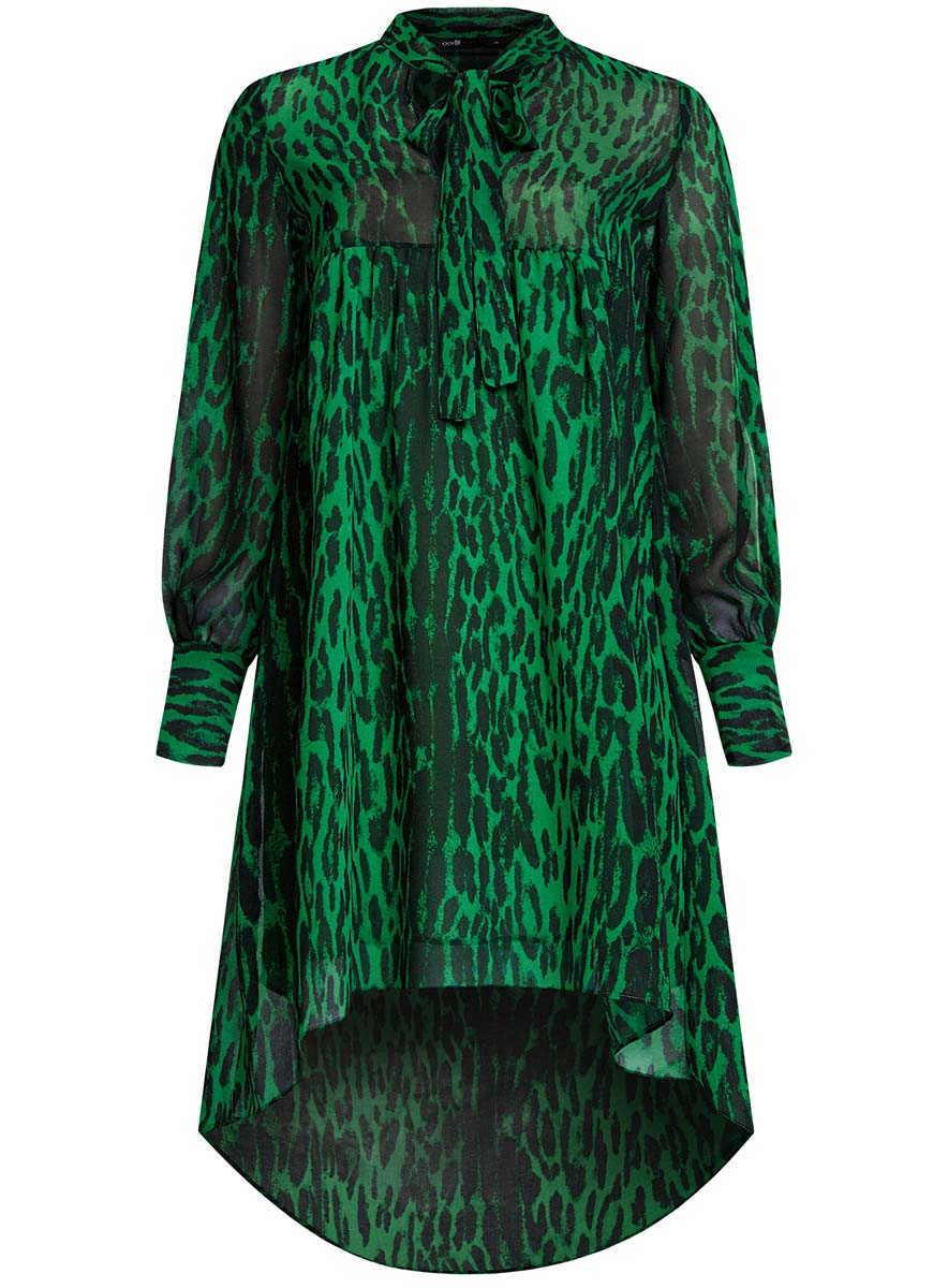 Платье oodji Ultra, цвет: травяной, черный. 11913032/38375/6B29A. Размер 36-170 (42-170)11913032/38375/6B29AПлатье oodji Ultra исполнено из воздушной, легкой ткани. Имеет свободный крой и V-образный вырез воротника, оформленный завязками под горлом. Платье выполнено с длинными рукавами-баллонами, застегивающимися на манжетах на пуговицы и ассиметричной юбкой, удлиненной сзади шлейфом.