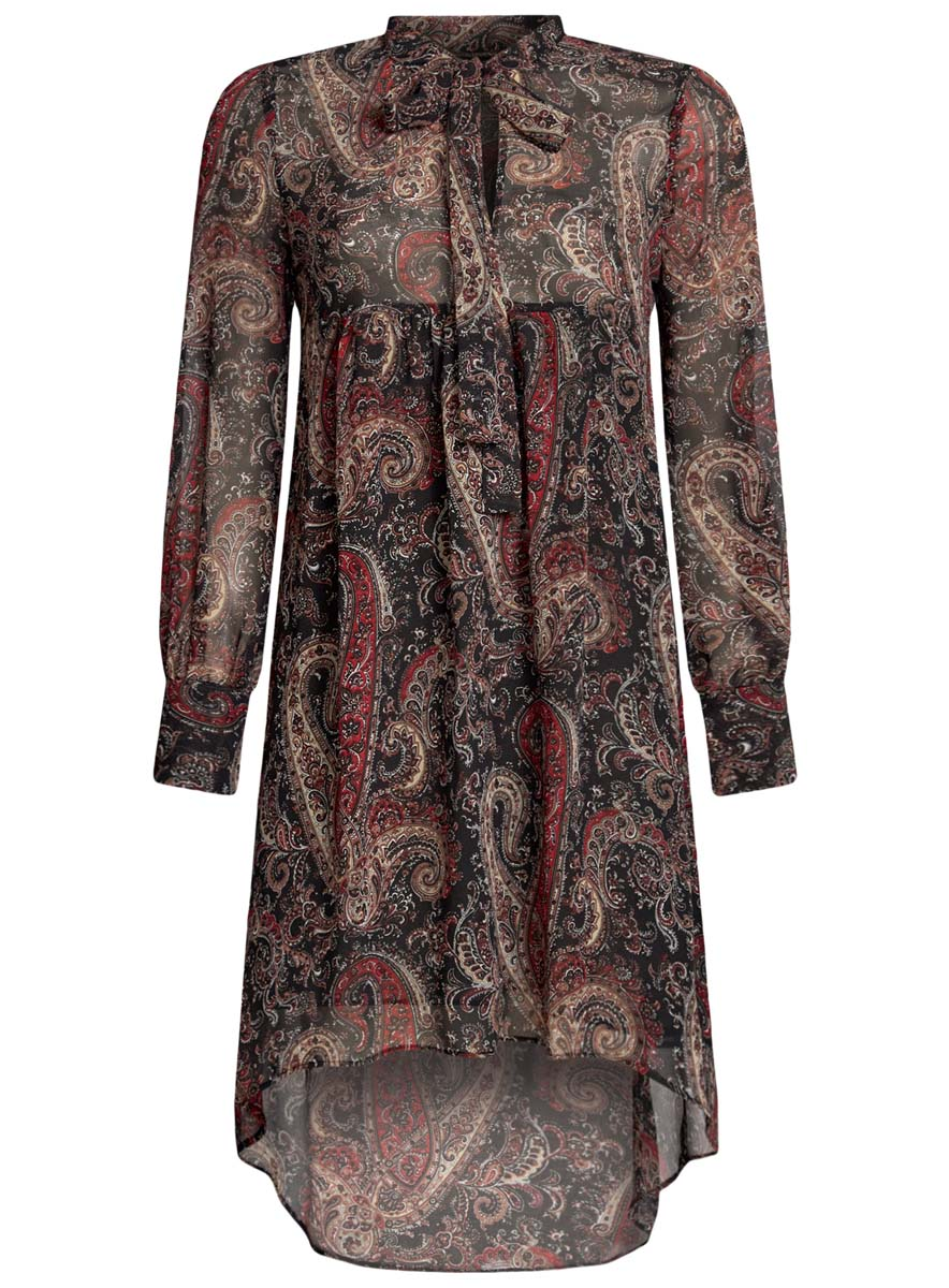 Платье oodji Ultra, цвет: черный, красный, хаки. 11913032/38375/2966E. Размер 38-170 (44-170)11913032/38375/2966EПлатье oodji Ultra исполнено из воздушной, легкой ткани. Имеет свободный крой и V-образный вырез воротника, оформленный завязками под горлом. Платье выполнено с длинными рукавами-баллонами, застегивающимися на манжетах на пуговицы и ассиметричной юбкой, удлиненной сзади шлейфом.