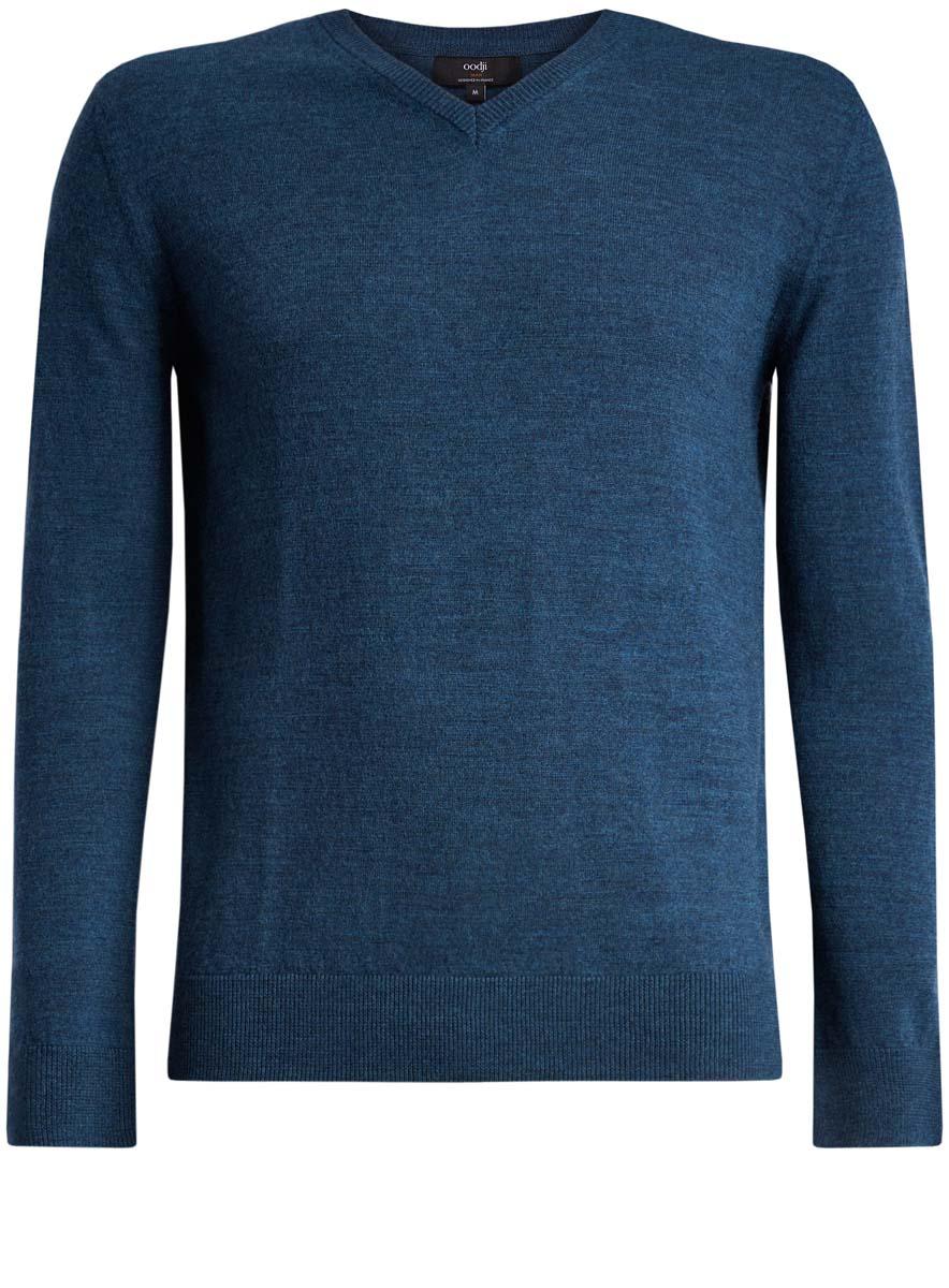 Пуловер мужской oodji Lab, цвет: синий меланж. 4L214005M/44359N/7600M. Размер L (52/54)4L214005M/44359N/7600MМужской джемпер oodji Lab полностью выполнен из шерсти. Модель с V-образным вырезом и длинными рукавами.Вырез горловины и манжеты рукавов дополнены эластичной резинками.