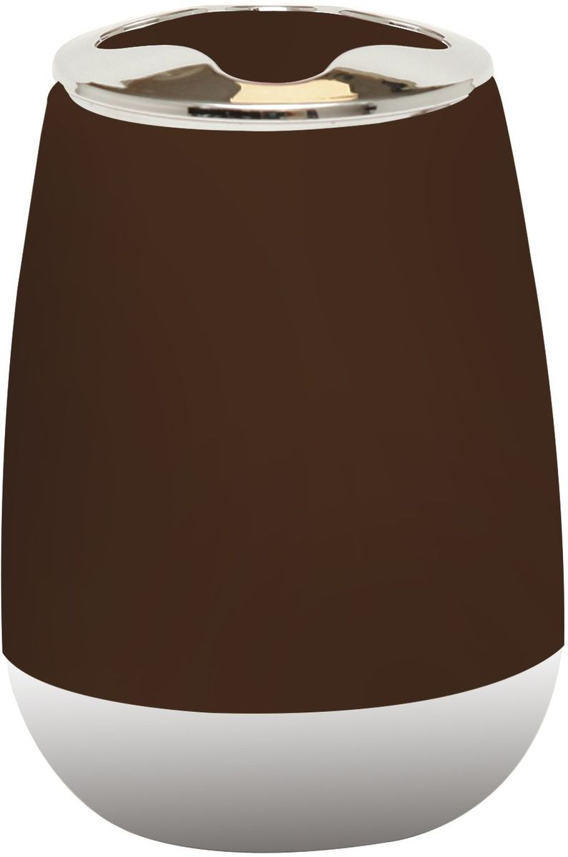 Стакан для зубных щеток Proffi Home, цвет: шоколадный, хром, 200 мл proffi шторка для ванной proffi home жасмин 180х200см
