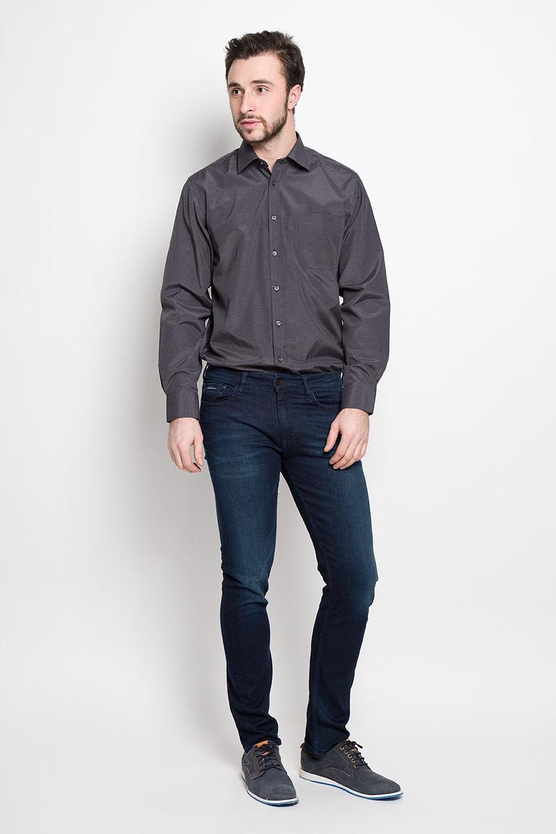Рубашка мужская Imperator, цвет: темно-серый. Shambala 2. Размер 41-178/186 (50-178/186)Shambala 2Отличная мужская рубашка, выполненная из хлопка с добавлением полиэстера. Рубашка прямого кроя с длинными рукавами и отложным воротником застегивается на пуговицы. Модель дополнена одним нагрудным карманом.