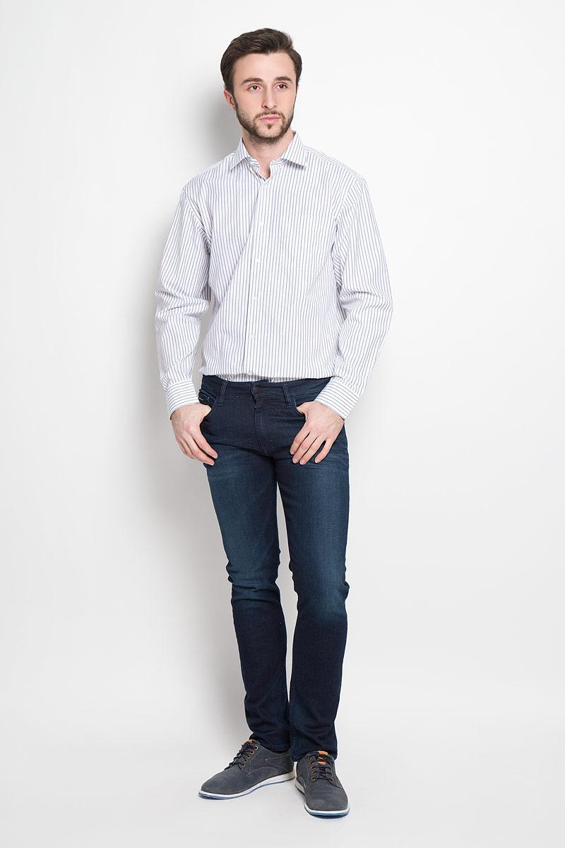 Рубашка мужская Imperator, цвет: белый, темно-синий. Dandy 244. Размер 39-170/178 (46-170/178)Dandy 244Мужская рубашка Imperator выполнена из хлопка с добавлением полиэстера. Рубашка прямого кроя с длинными рукавами и отложным воротником застегивается на пуговицы. Модель дополнена нагрудным кармашком. Манжеты рукавов оснащены застежками-пуговицами.