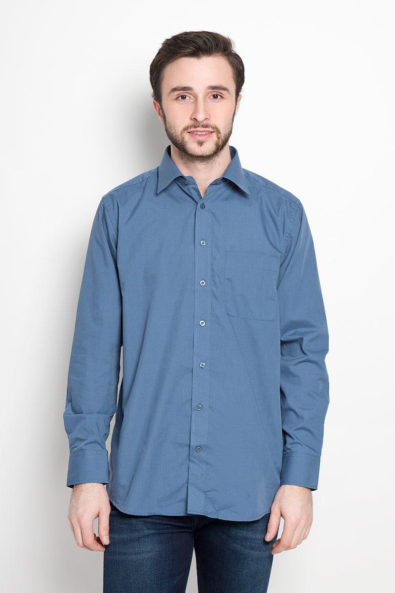 Рубашка мужская Imperator, цвет: синий. Flint. Размер 42-178/186 (52-178/186) рубашка мужская imperator цвет белый pt2000 47 размер 45 170 178 58 170 178