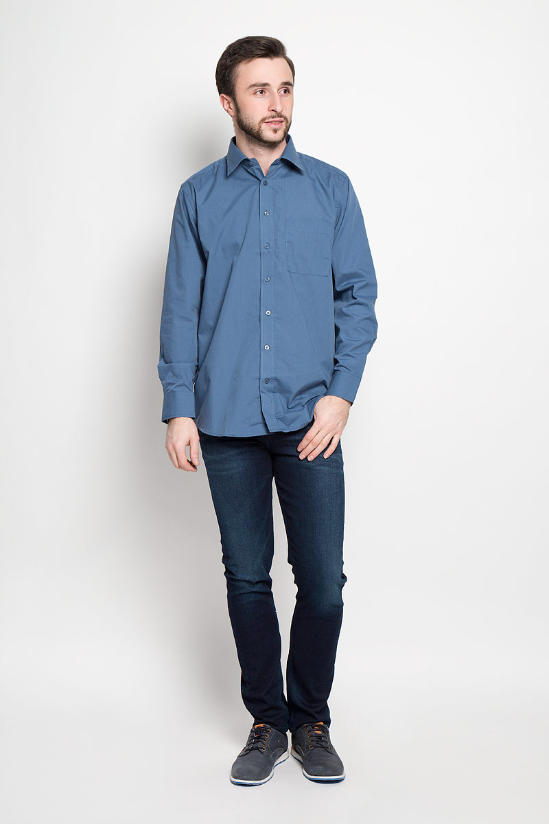 Рубашка мужская Imperator, цвет: синий. Flint. Размер 42-170/178 (52-170/178)FlintОтличная мужская рубашка, выполненная из хлопка с добавлением полиэстера. Рубашка прямого кроя с длинными рукавами и отложным воротником застегивается на пуговицы. Модель дополнена одним нагрудным карманом.