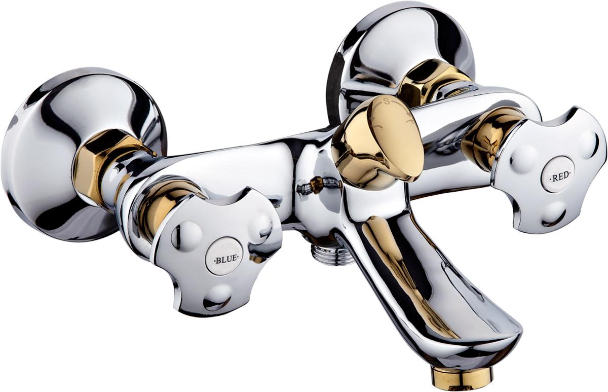 Смеситель для ванны РМС, с коротким изливом, цвет: хром, золотистый. SL61-142ESL61-142EСмеситель для ванны РМС выполнен с коротким изливом.Особенности: Кран-букса латунная с керамическими пластинами угол поворота 180 градусов. Евро-переключение на душ. Поворотный прямой излив. Аэратор: пластиковый. Покрытие: хром+декор под золото. В комплекте: эксцентрики, отражатели, металлический шланг для душа 1,5 м, лейка для душа.