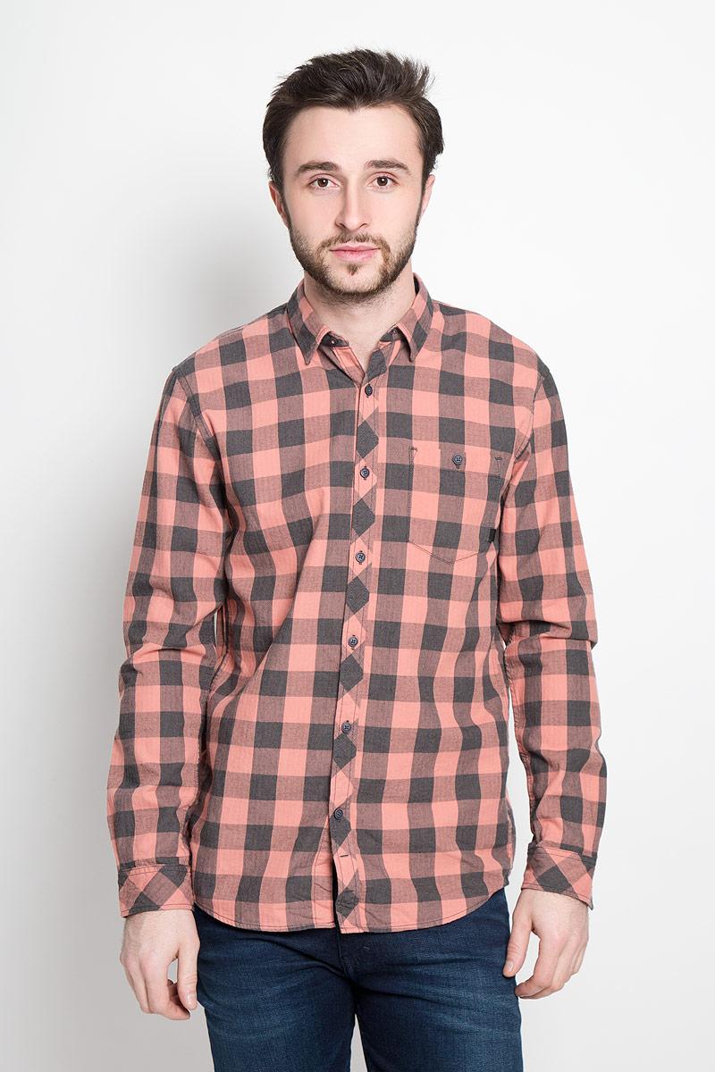 Рубашка мужская Tom Tailor Denim, цвет: розово-бежевый, темно-серый. 2032742.00.12_4719. Размер L (50) платье tom tailor denim 5019774 00 71 6593