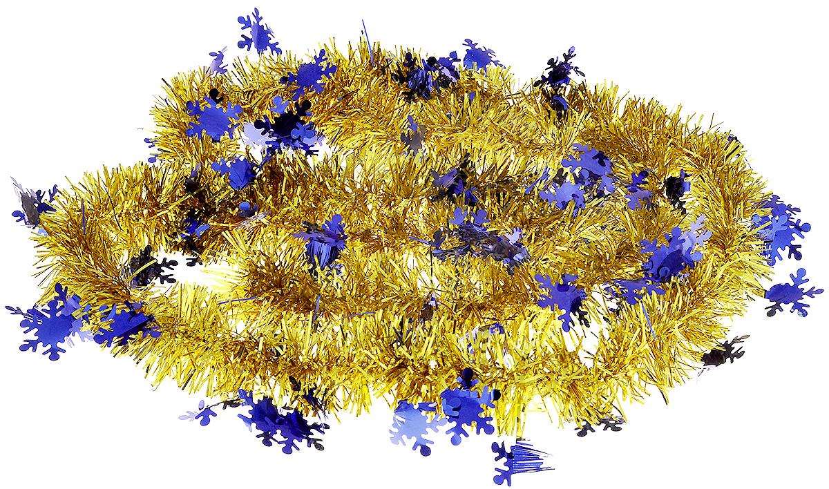 Мишура новогодняя B&H Снежинки, цвет: золотой, синий, 2 мBH1050_Снежинки_золотой, синийМишура новогодняя B&H Снежинки, выполненная из ПВХ, поможет вам украсить свой дом к предстоящим праздникам. Новогодняя елка с таким украшением станет еще наряднее. Новогодней мишурой можно украсить все, что угодно - елку, квартиру, дачу, офис - как внутри, так и снаружи. Можно сложить новогодние поздравления, буквы и цифры, мишурой можно украсить и дополнить гирлянды, можно выделить дверные колонны, оплести дверные проемы.