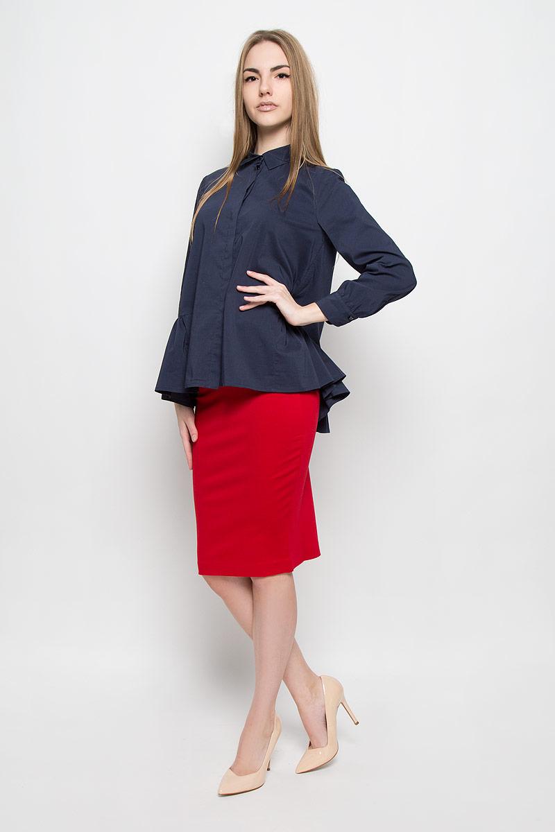 Блузка женская Ruxara, цвет: темно-синий. 1201541. Размер 481201541Свободная блузка Ruxara изготовлена из эластичной хлопковой ткани. У модели аккуратный отложной воротник, длинные рукава на манжете, потайная застежка с пуговицами подчеркивают лаконичность кроя. Низ изделия дополнен баской в сборку.