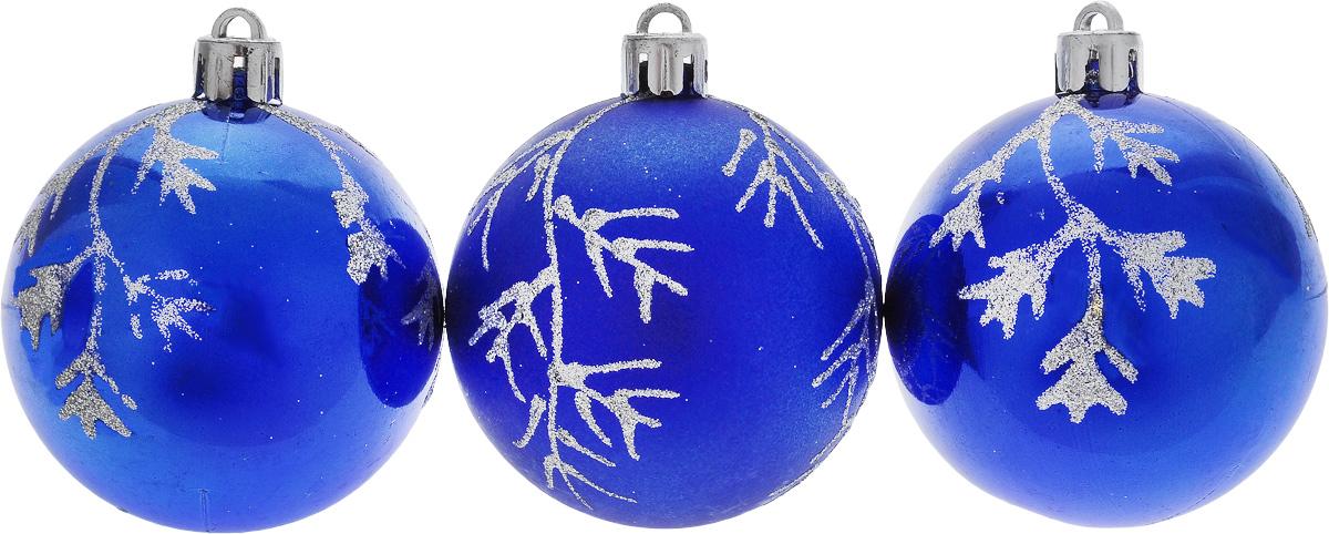 """Набор новогодних подвесных украшений """"Euro House"""", цвет: синий, диаметр 6 см, 3 шт"""