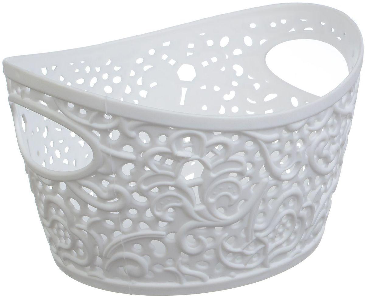 Корзинка Idea Кружево, цвет: белый, 1 лМ 2376Универсальная корзинка Idea изготовлена из высококачественного пластика с перфорированными стенками и сплошным дном. Такая корзинка непременно пригодится в быту, в ней можно хранить кухонные принадлежности, специи, аксессуары для ванной и другие бытовые предметы, диски и канцелярию.Размер корзинки: 15,7 х 12 х 9 см. Объем корзинки: 1 л.