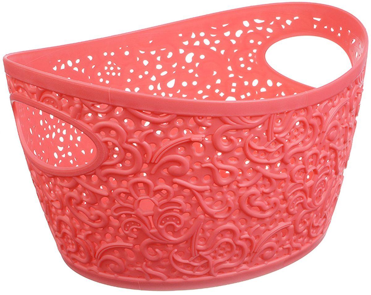 Корзина для рукоделия Idea Кружево, цвет: коралловый, 23 х 18,5 х 13 см шкатулка для рукоделия bestex цветы 23 х 18 х 12 см