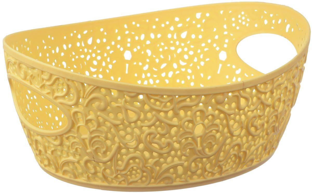 Корзинка Idea Кружево, цвет: банановый, 2,5 лМ 2378Универсальная корзинка Idea изготовлена из высококачественного пластика с перфорированными стенками и сплошным дном. Такая корзинка непременно пригодится в быту, в ней можно хранить кухонные принадлежности, специи, аксессуары для ванной и другие бытовые предметы, диски и канцелярию.Размер корзинки: 19,5 х 26 х 10 см. Объем корзинки: 2,5 л.