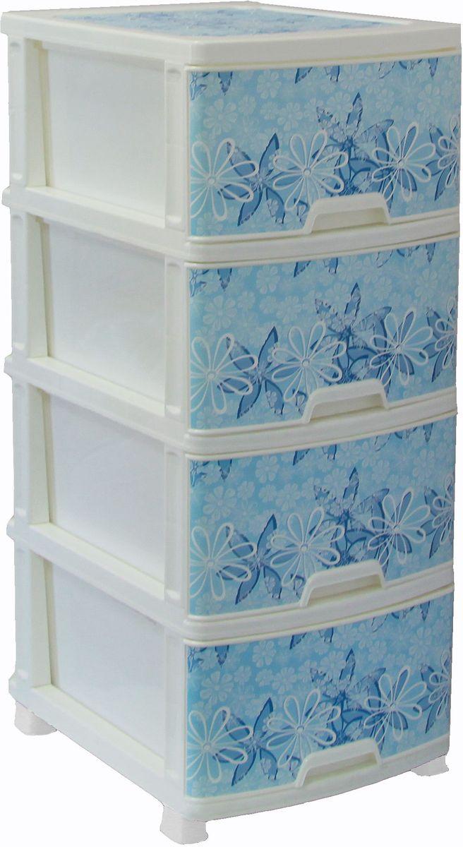 Комод Idea Классик Деко. Цветы, 37,5 х 48 х 47,5 см, 4 секции комод idea куба цвет голубой белый 50 5 х 40 5 х 96 см